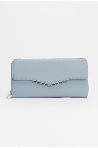 Blue wallet with metal zipper