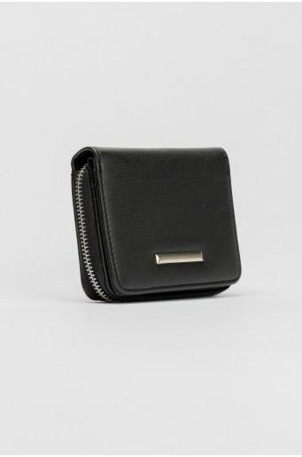 Black wallet with metal zipper