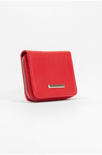 Red wallet with metal zipper
