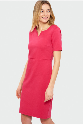 Dress with split neckline