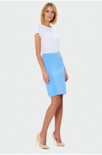Modrá pouzdrová sukně