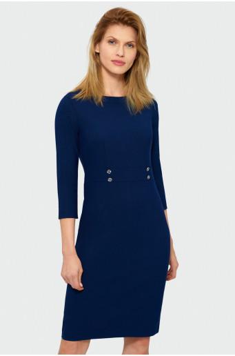 Modré šaty s dlouhým rukávem