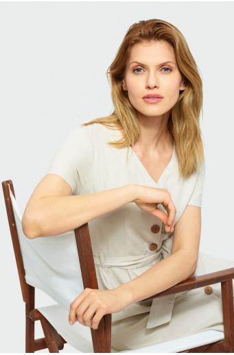 Beige buttoned dress