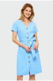 Modré šaty zapínané na gombíky