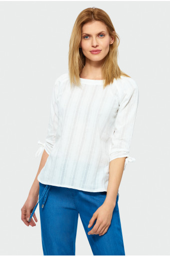 ¾ sleeve cotton blouse