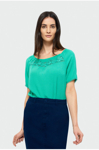 Blouse with Carmen neck
