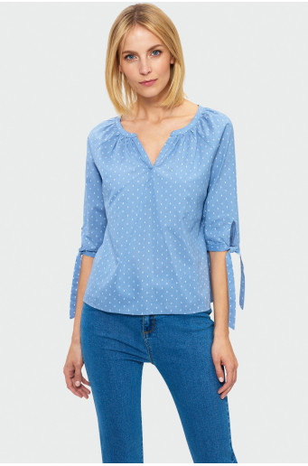 Denim polka dot blouse