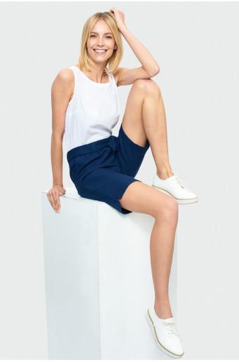 Above the knee shorts, elasticized ruffled waist