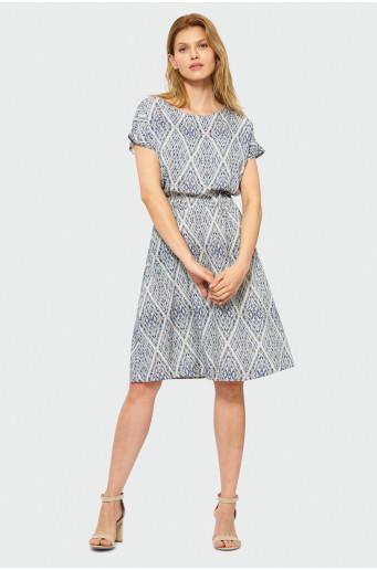 Kimono dress with elasticized waist