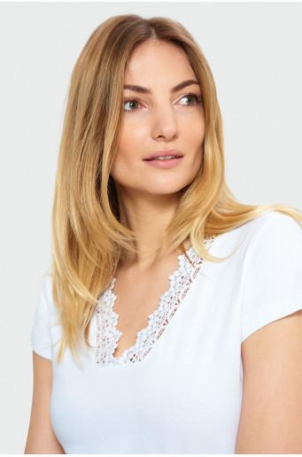 Top with decorative neckline