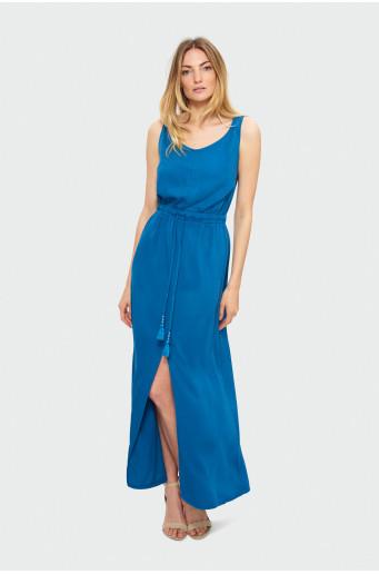 Dlouhé modré šaty