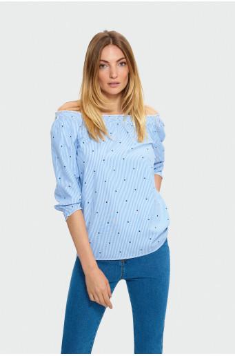 Striped Carmen blouse