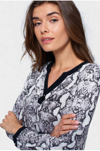 Animal pattern rayon blouse