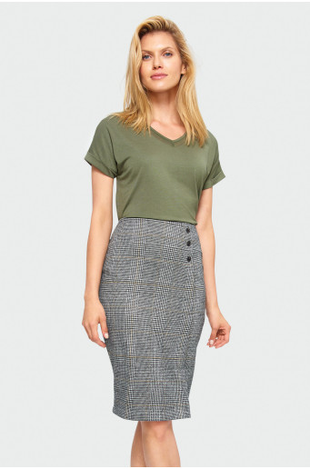 Chequered pencil skirt