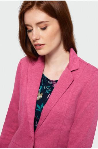 Růžové sako z úpletu