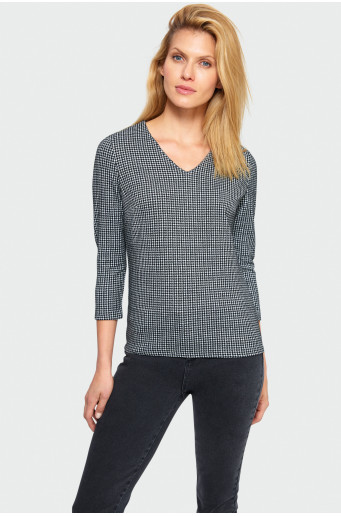 Houndstooth knitted blouse