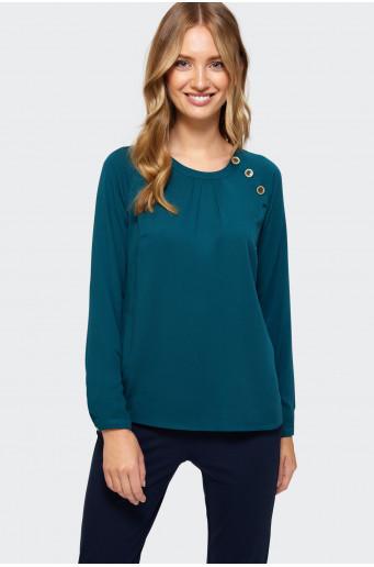 Asymmetric fastener blouse