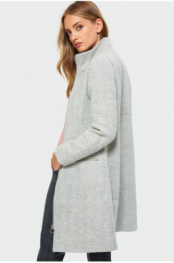 Skin-tight stand-up collar coat