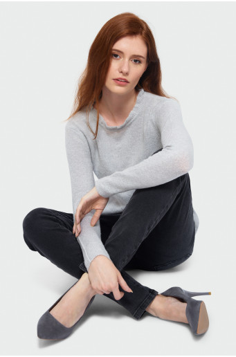Grey ruched sweater
