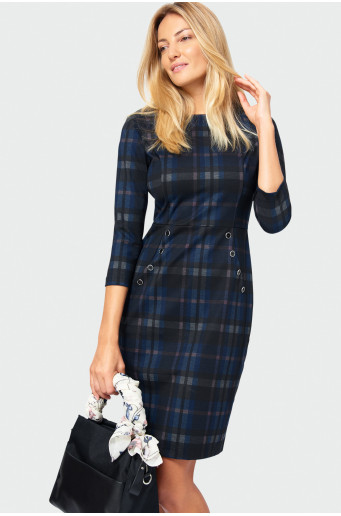 Chequered pencil dress