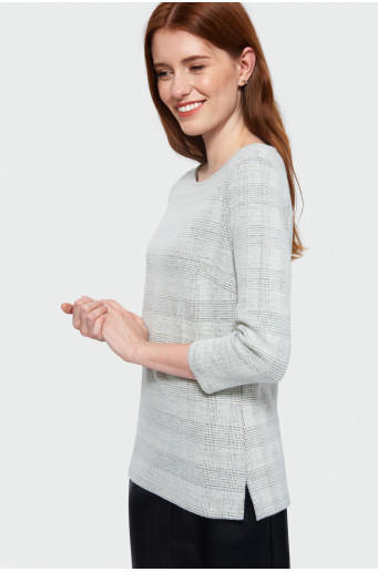 Chequered knitted blouse