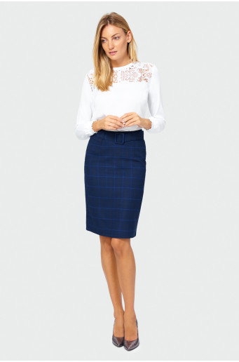 Navy blue chequered skirt
