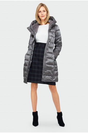Quilted funnel neck coat