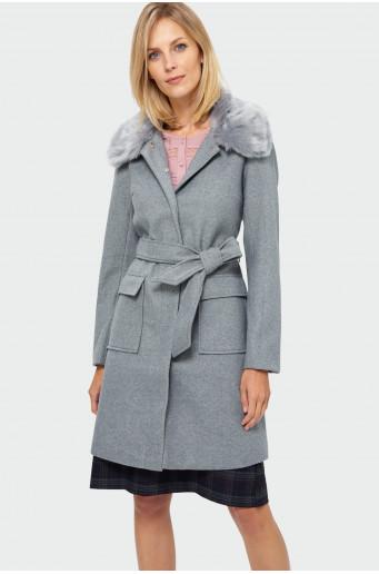 Classic fur collar coat