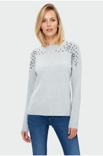 Applique grey sweater