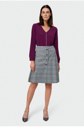 Chequered trapeze skirt