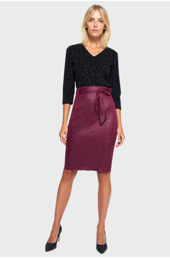 Eco leather pencil skirt