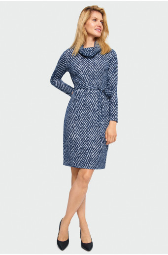 Knitted rolled neck dress