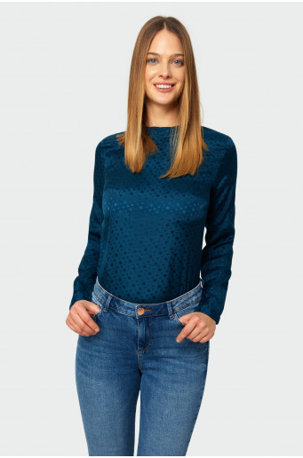 Rayon stand-up collar blouse
