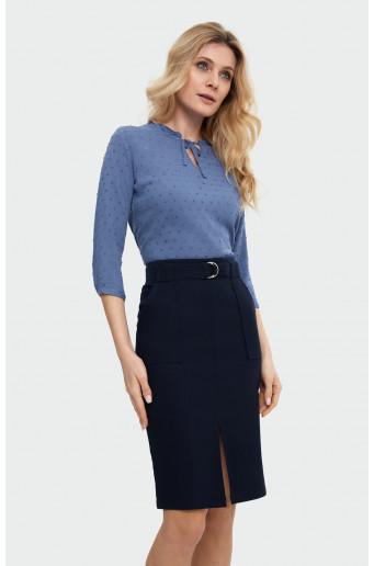 Belt pencil skirt