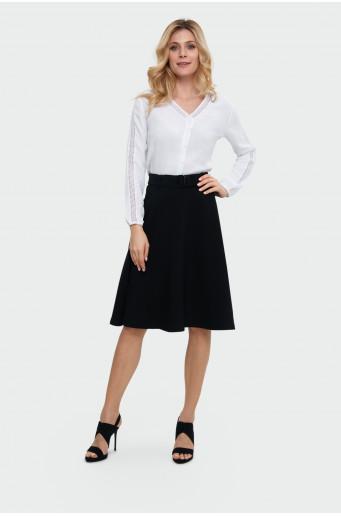 Belt flared skirt