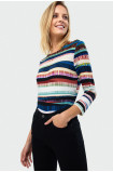 Patterned drawstring sweater