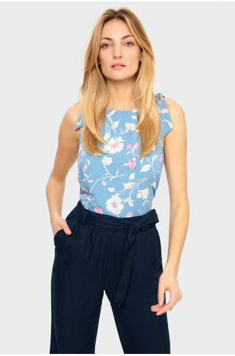Rayon blouse with tied shoulders