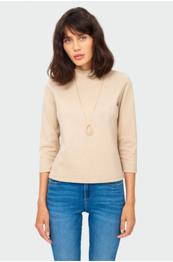 Knitted stand-up collar blouse