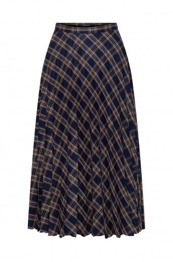 Pleated chequered skirt