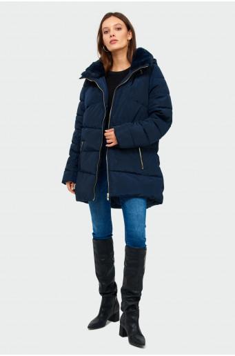 Quilted short hood coat