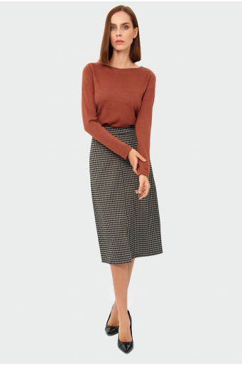 Pencil houndstooth skirt