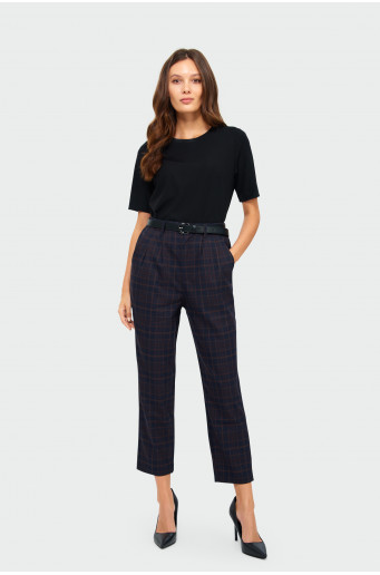 Chequered gathered trousers