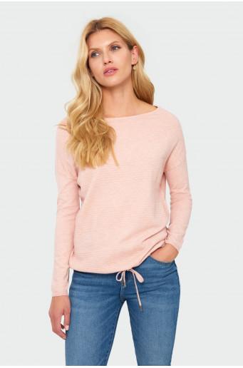 Drawcord pastel pink sweater