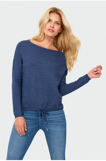 Drawcord blue sweater
