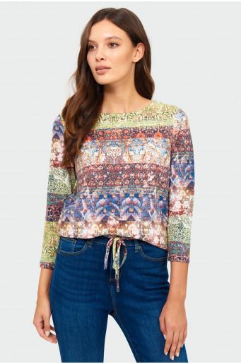 Drawcord printed sweater