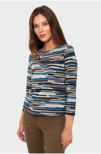 Drawcord striped sweater
