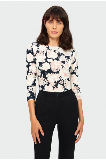 Floral straight sweater