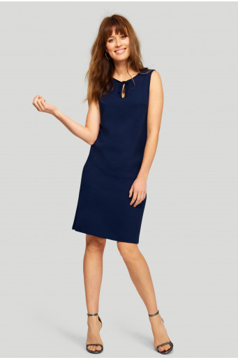 Loose navy blue viscose dress
