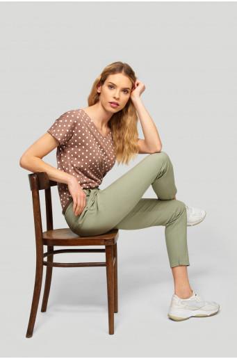 Chino cotton belt trousers