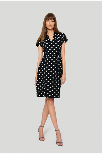 Straight polka-dot dress